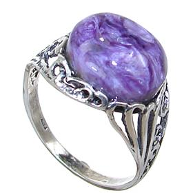 Charoite Sterling Silver Ring Size Q