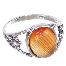 Agate Sterling Silver Ring size O