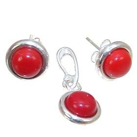Red Coral Sterling Silver Set