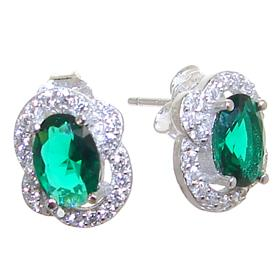 Green Quartz Sterling Silver Earrings Stud