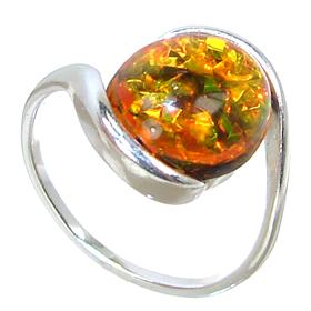 Created Fire Opal Sterling Silver Ring Size P