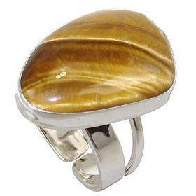 Tiger Eye Sterling Silver Ring size O 1/2
