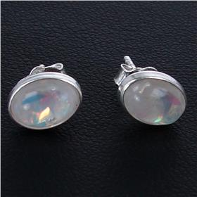 Created Opal Sterling Silver Earrings Stud