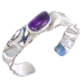 Designer Amethyst Sterling Silver Bracelet Bangle