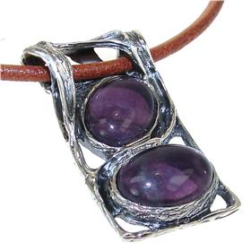 Designer Amethyst Sterling Silver Necklace 20 inches long