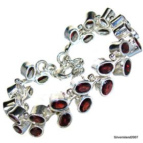 Massive Garnet Sterling Silver Gemstone Bracelet