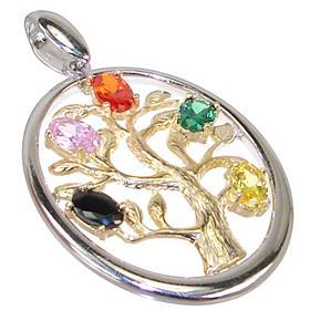 Multi Quartz Tree Sterling Silver Pendant