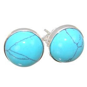 Designer Turquoise Sterling Silver Earrings Stud