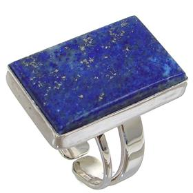 Unique Lapis Lazuli Sterling Silver Ring size O 1/2 Adjustable