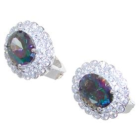Mystic Quartz Sterling Silver Earrings Stud