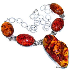 Huge Amber Sterling Silver Gemstone Necklace 17 inches long