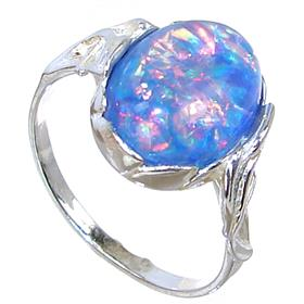 Created Fire Opal Sterling Silver Ring Size Q