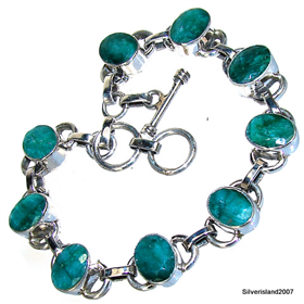 Wonderful Emerald Sterling Silver Bracelet