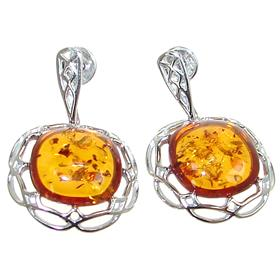 Amber Ball Sterling Silver Earrings Stud