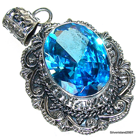 Massive Blue Cubic Zirconia Sterling Silver Pendant