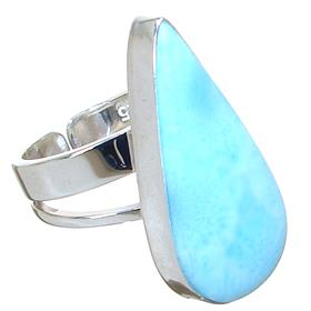 Designer Larimar Sterling Silver Ring size P Adjustable