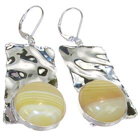 Large Botswana Agate Sterling Silver Earrings
