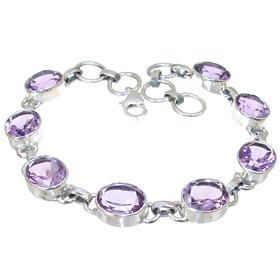 Purple Quartz Sterling Silver Bracelet