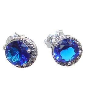 Blue Quartz Sterling Silver Earrings Stud