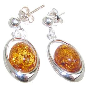 Amber Sterling Silver Earrings Stud