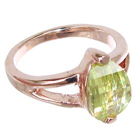 Green Quartz Gold Plated Ring size M