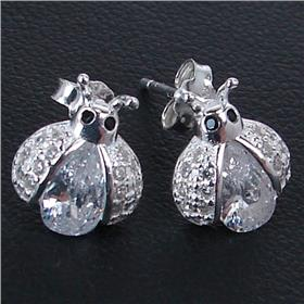 White Quartz Ladybird Sterling Silver Earrings Stud