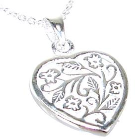 Fancy Heart Sterling Silver Necklace length 20 inches