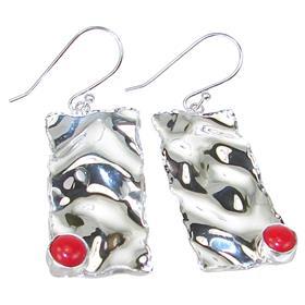 Designer Red Coral Sterling Silver Earrings