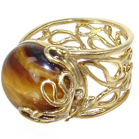 Chunky Tiger Eye Sterling Silver Ring size P 1/2