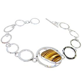 Tiger Eye Sterling Silver Bracelet