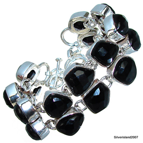 Massive Black Onyx Sterling Silver Bracelet