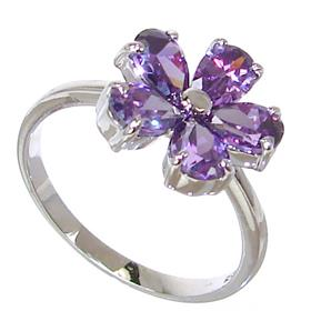 Purple Quartz Sterling Silver Ring size P 1/2