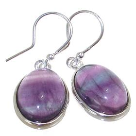 Designer Flourite Sterling Silver Earrings