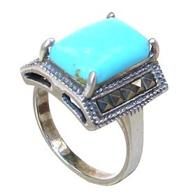 Created Turquoise Sterling Silver Ring size M 1/2