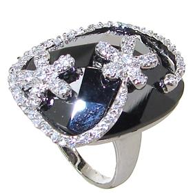 Black Onyx Sterling Silver Ring size O