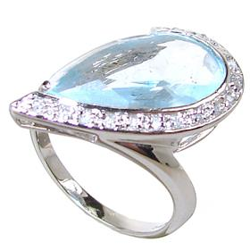 Sky Blue Quartz Sterling Silver Ring size L 1/2