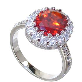 Red Quartz Sterling Silver Ring size N 1/2