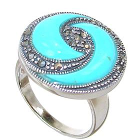 Created Turquoise Sterling Silver Ring size P