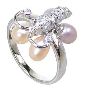 Fancy Butterfly Pearl Sterling Silver Ring size Q