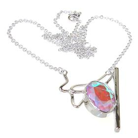 Fire Quartz Sterling Silver Necklace 16 inches long