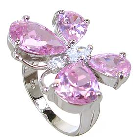 Pink Butterfly Quartz Sterling Silver Ring size L 1/2