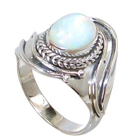 Fire Opal Sterling Silver Ring size P 1/2