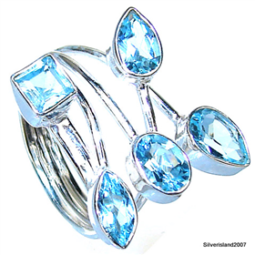 Stunning Blue Topaz Sterling Silver Ring size Q