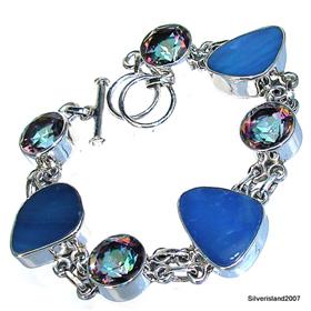 Fire Opal, Mystic Topaz Sterling Silver Bracelet