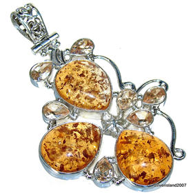 Large Honey Amber Sterling Silver Pendant