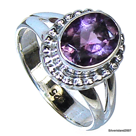 Amethyst Sterling Silver Ring Size L 1/2