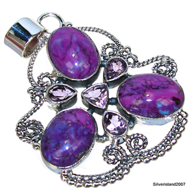 Huge Purple Turquoise Sterling Silver Pendant