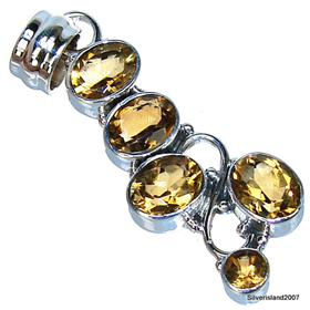 Sunny Citrine Sterling Silver Pendant