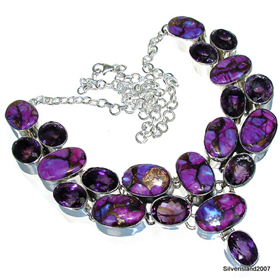 Massive Copper Turquoise, Amethyst Sterling Silver Necklace 19 inches long