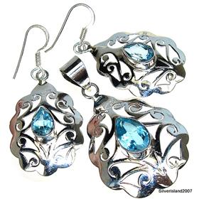Unique Blue Topaz Sterling Silver Set